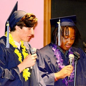 Graduates Josh Strode and DanEl Brown gave an exhortation to the graduates from Proverbs 4.